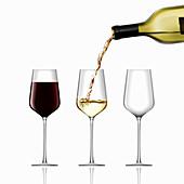Full glass of wine and half full glass, illustration