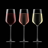 Three wine glasses in a row, illustration