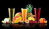 Three glasses of different fruit juices, illustration