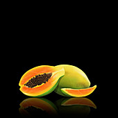Fresh papaya, whole, half and slice, illustration