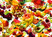 Lots of different fresh fruit falling, illustration