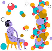Scientist looking up at molecular structure, illustration