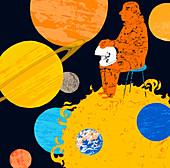 Astronaut sitting on the sun, illustration
