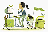 Businesswoman driving eco-friendly bicycle, illustration