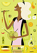 Woman cooking healthy food in kitchen, illustration