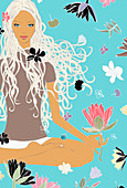 Woman sitting in lotus pose and floral design, illustration