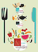 Knife and fork with healthy food groups, illustration