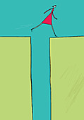 Woman leaping over gap, illustration