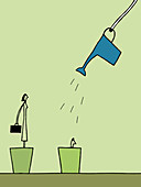 Watering can over people in flowerpots, illustration