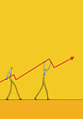 Businessmen carrying ascending arrow, illustration