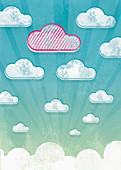 Unique striped cloud in sky, illustration