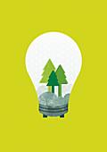 Trees inside light bulb, illustration