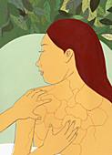 Woman receiving back massage, illustration