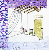 Netting above bed, illustration