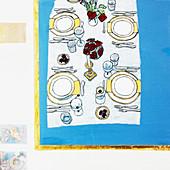 Elegant dinner table, illustration