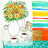 Flowers and coffee cups on table, illustration