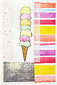 Stacked ice cream cone, illustration