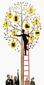 Man on ladder reaching for key, illustration