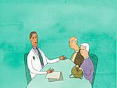 Doctor talking to elderly couple, illustration