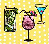 Variety of cocktails, illustration