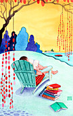 Man reading books in adirondack chair by lake, illustration