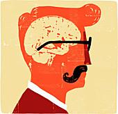 Brain inside head of man with moustache, illustration