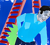 Man with injured back next to ladder, illustration