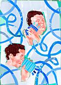 Men talking into tin can telephone, illustration