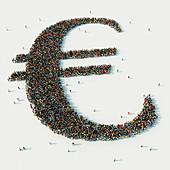 People arranged in Euro symbol, illustration