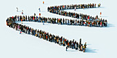 Queue of people waiting in a zigzag line, illustration