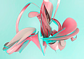 Abstract pink swirling shapes, illustration