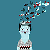 Man with flock of birds coming from head, illustration