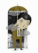 Businessman holding umbrella, illustration