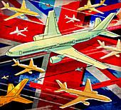 Aircraft flying over British flag, illustration