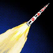 Rocket blasting off, illustration