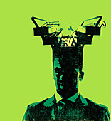 Businessman with toolbox coming from his head, illustration