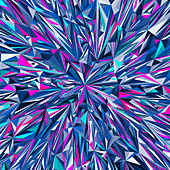 Vibrant angular blue and pink abstract pattern, illustration