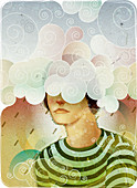 Woman with her head in the clouds, illustration