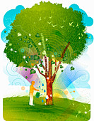 Man watering tree, illustration