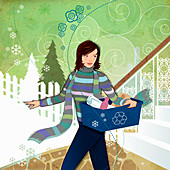 Woman carrying recycling bin in winter, illustration