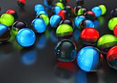 Glowing balls on floor, illustration