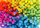 Close up of multicoloured cubes, illustration