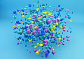 Floating blocks in large cube shape, illustration