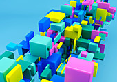 Cluster of multicoloured cubes, illustration