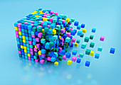 Small blocks assembling in large cube shape, illustration