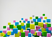 Floating multicolour cubes, illustration