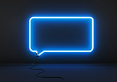 Neon blue speech bubble, illustration