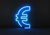 Neon blue euro sign, illustration