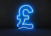 Neon blue British pound sign, illustration