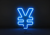 Neon blue yen sign, illustration